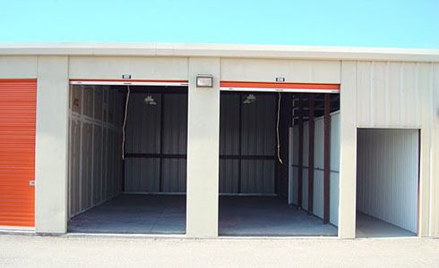 Open self storage units next to each other