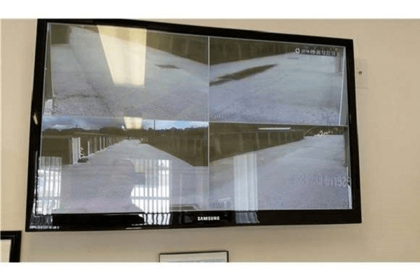 Television picture of the security camera feeds