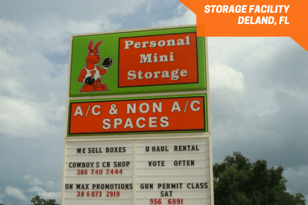 Personal Mini Storage Deland street sign