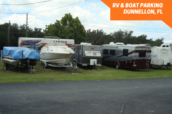 Boats and RVs parked outside