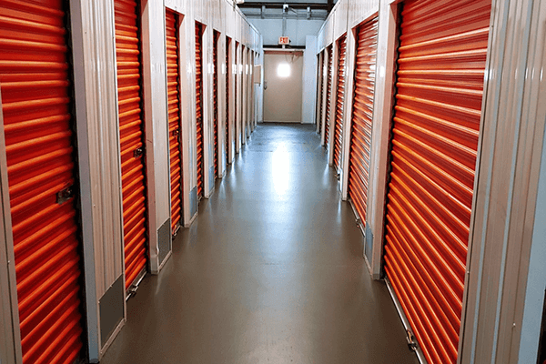 Long hallway with various air conditioned storage spaces