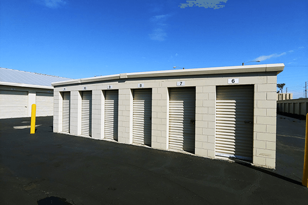 Large drive-up storage units in a row