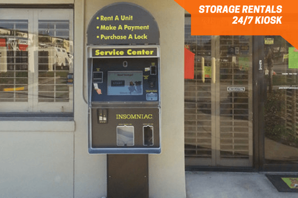 Service kiosk to make a payment or rent a space