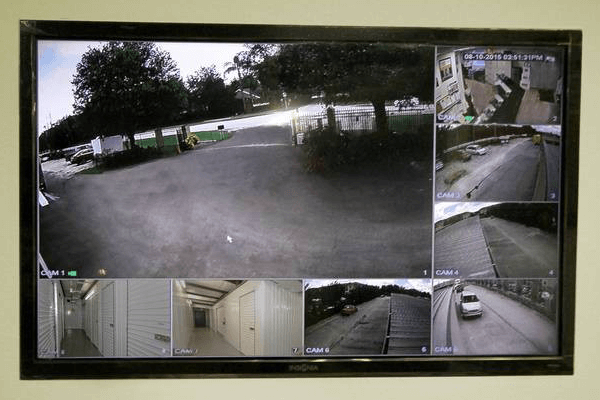Television picture of live feed from security cameras