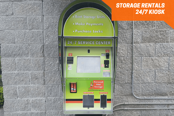 24 hour storage rental kiosk onsite