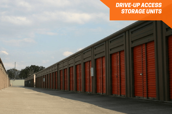 Drive up storage units down the aisle