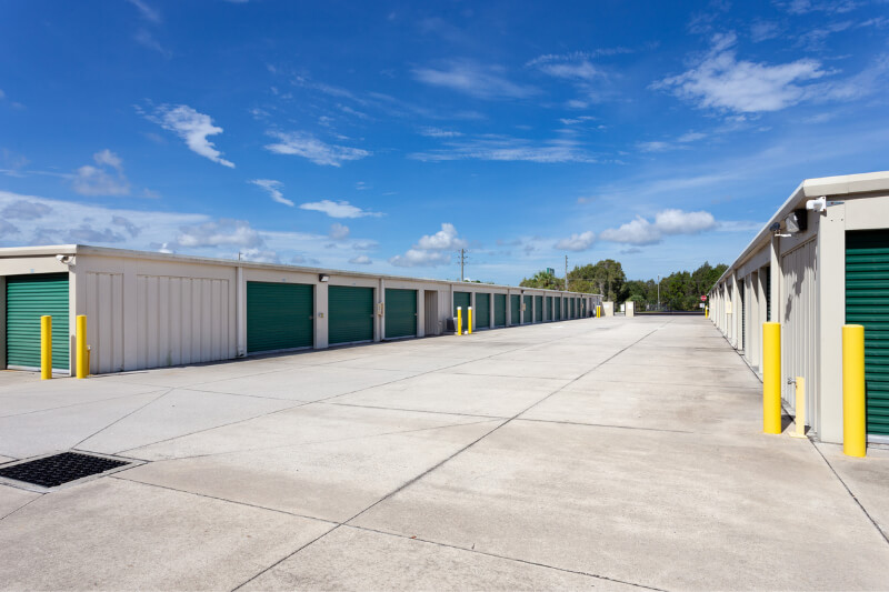 aerial of wide aisle storage units
