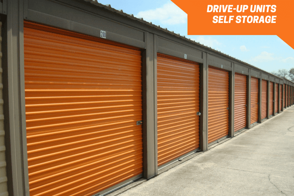 Row of storage units for rent at Personal Mini Storage West