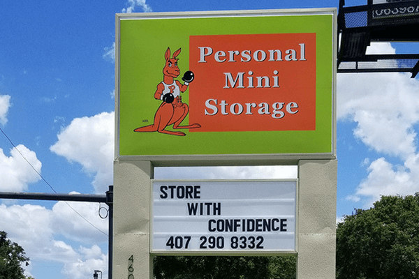 Entrance sign of Personal Mini Storage facility in West Orlando