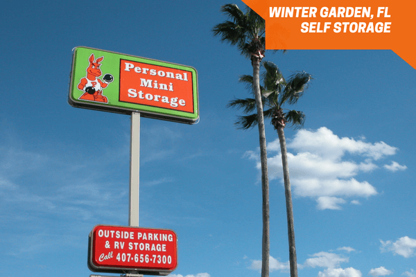Entrance sign of Personal Mini Storage of Winter Garden, FL