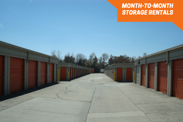 Drive-up storage units on both sides of aisle