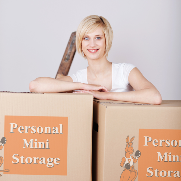 Woman with Personal Mini Storage boxes